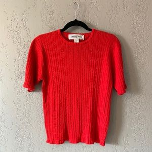 Vintage 1980's Bright Red Rib Knit Top